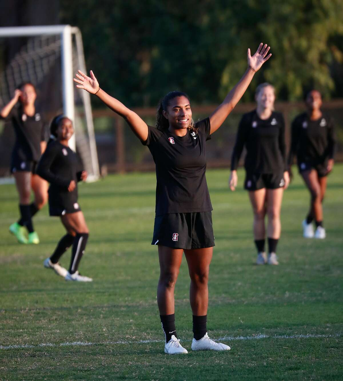 Stanford soccer player Catarina Macario practices with her team at Stanford University on Thursday, Nov. 21, 2019, in Stanford, Calif.