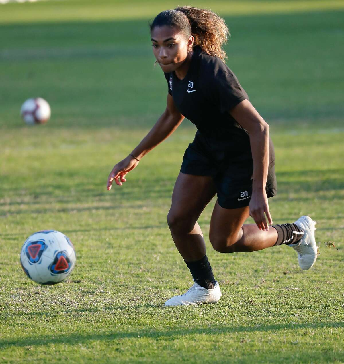 Stanford soccer player Catarina Macario goes after the ball during practice with her team at Stanford University on Thursday, Nov. 21, 2019, in Stanford, Calif.