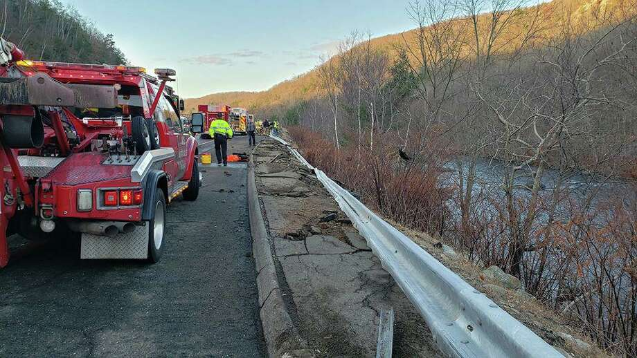 Nearly 250 feet of guardrail on Route 8 was damaged during a Thanksgiving morning crash. Photo: / Beacon Falls Hose Co. No. 1
