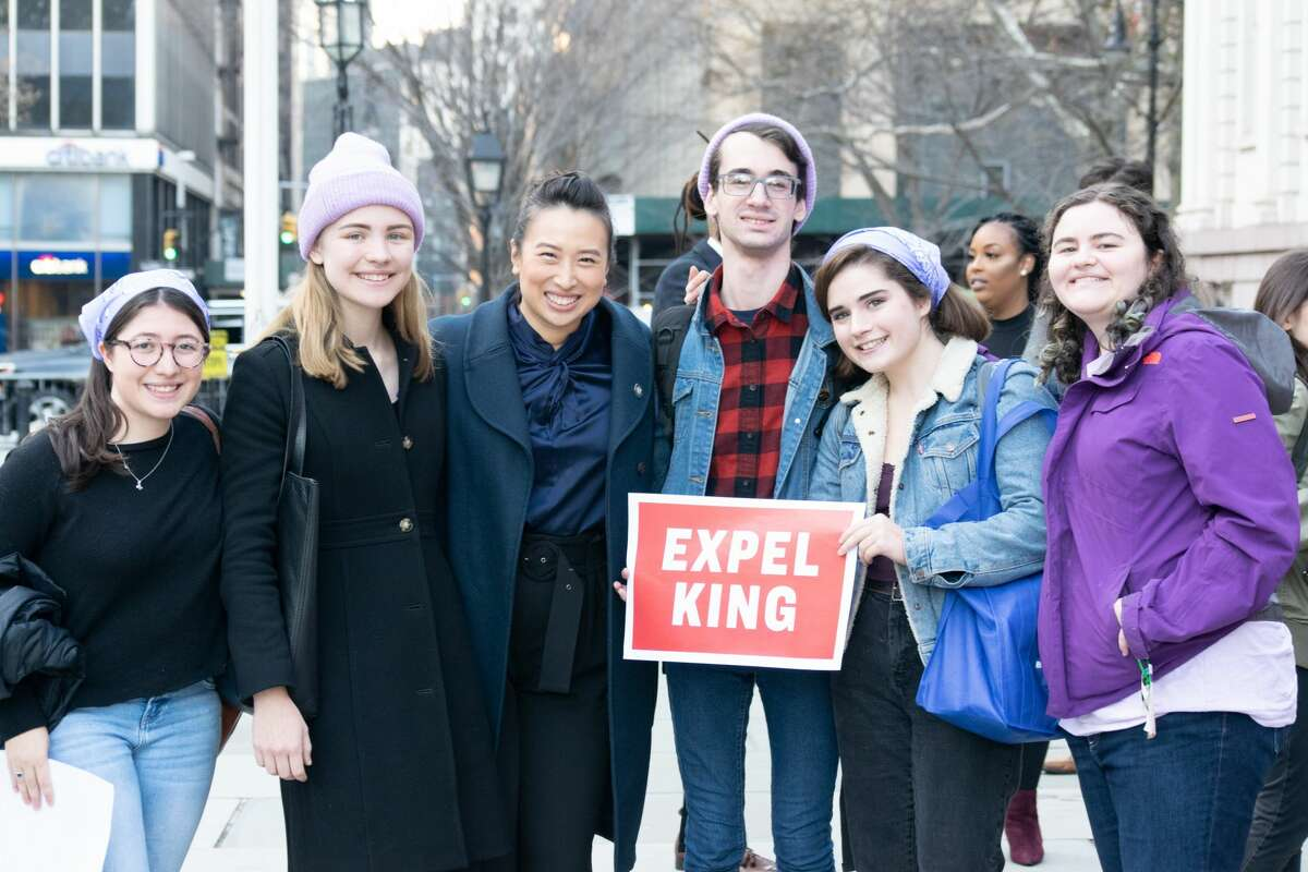 Members of the Zoomers Caucus, a politically active group of Gen Zers, are pictured with Assemblywoman Yuh-Line Niou at a New York City rally on Nov. 26, 2019.