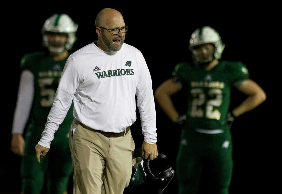 The Woodlands Christian Academy head coach Randy Hollas reacts after a call during the second quarter of a TAPPS District 4-3A high school football game at The Woodlands Christian Academy, Friday, Nov. 8, 2019, in The Woodlands. Photo: Jason Fochtman, Houston Chronicle / Staff Photographer / Houston Chronicle
