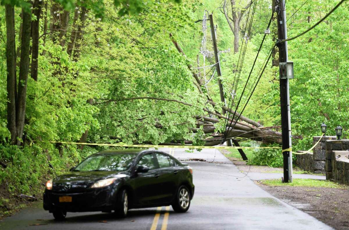 FILE PHOTO: Taken on May 16, 2018, on Parsonage Road in Greenwich, Conn., the day after a major overnight storm.