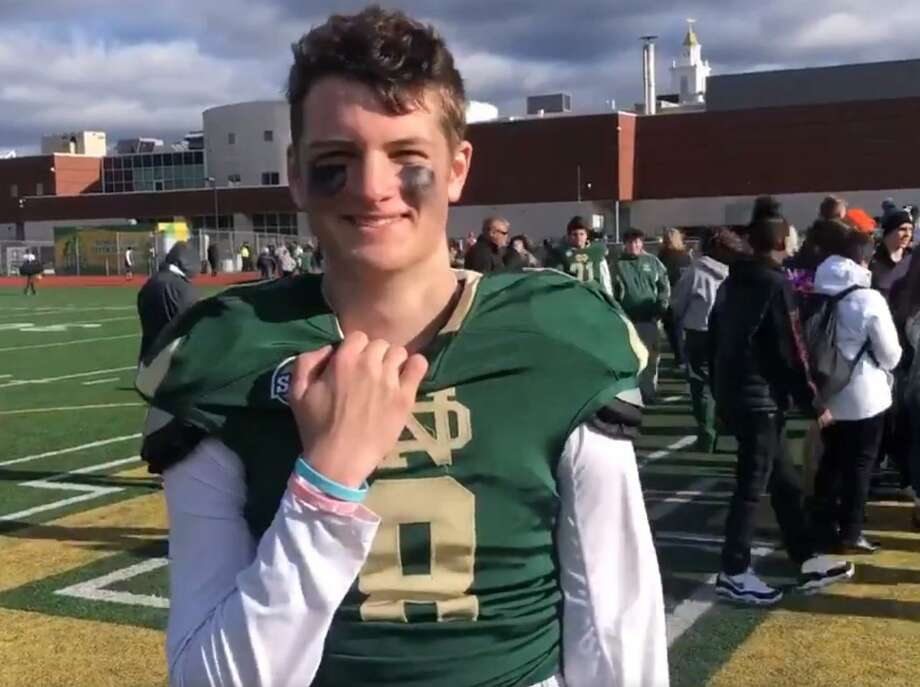 Notre Dame quarterback Jackson Zalinsky accounted for five touchdowns Thursday in the Green Knights win over Hamden in the Green Bowl. Photo: NDWH Athletics