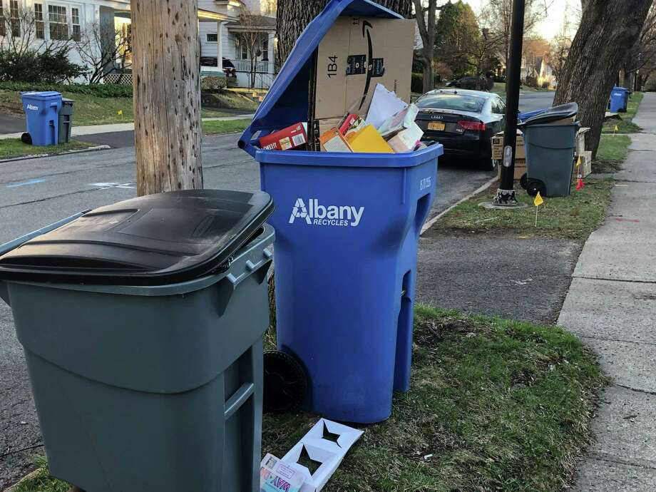 Albany recycling awaits pick up on April 10, 2019.  (Gary Hahn/Times Union)