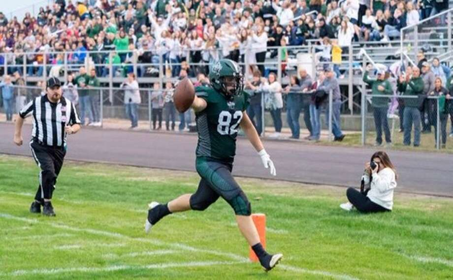 Recently, Albion tendered a scholarship offer to Laker athlete JT Waarren after he put forth 24 tackles, five tackles for loss, one interception, 13 catches for 202 yards and two touchdowns in 2019. Photo: Tribune File Photo