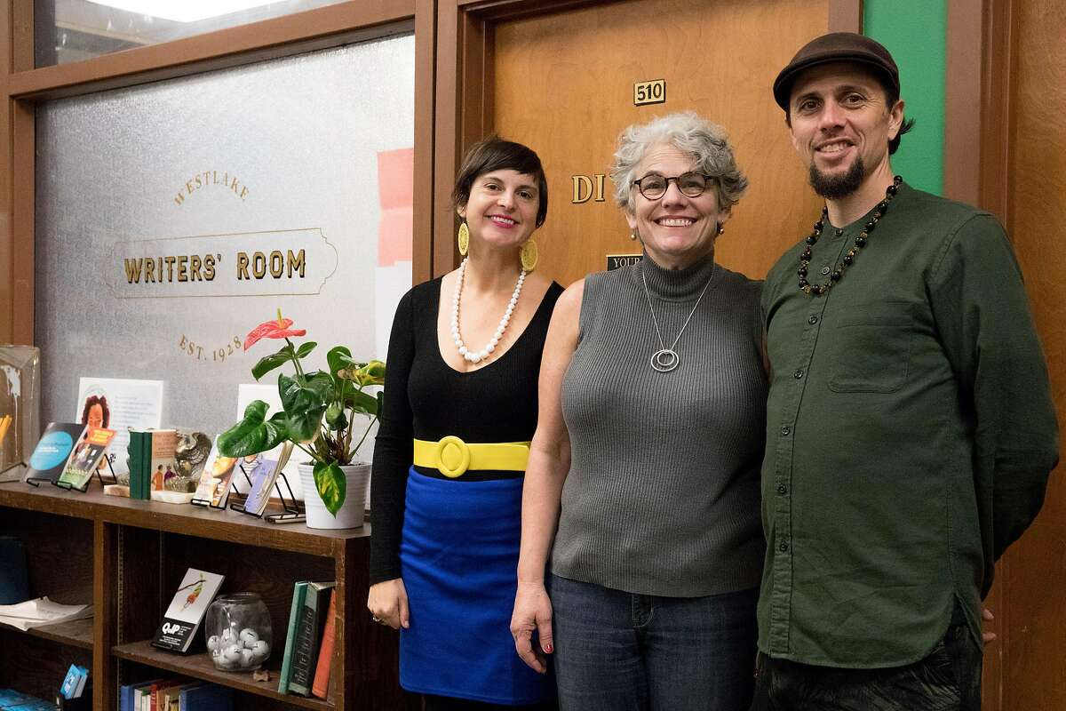 (From left) Chapter510 co-founder Tavia Stewart, executive director Janet Heller and program director Jahan Khalighi pose for a portrait outside the Writer's Room during a Chapter510 writing session with students at Westlake Middle School in Oakland, Calif. Friday, Nov. 22, 2019.
