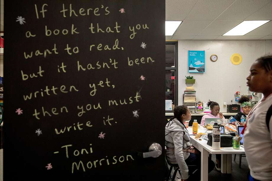 A Toni Morrison quote is written on the door of the Writers' Room during a Chapter 510 writing session at Westlake. Photo: Jessica Christian / The Chronicle