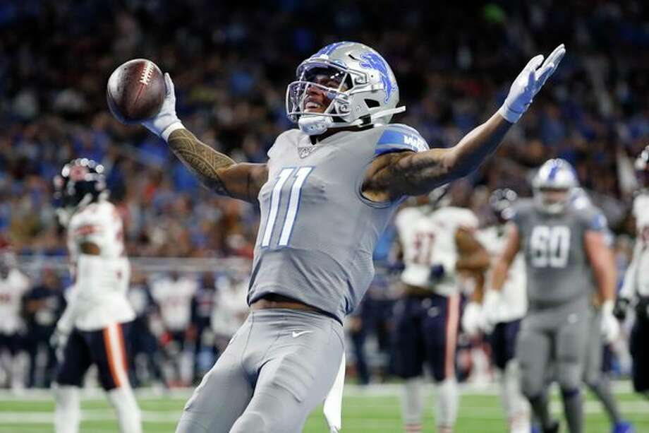 Detroit Lions wide receiver Marvin Jones reacts after scoring on a 8-yard pass reception for a touchdown during the first half of an NFL football game against the Chicago Bears, Thursday, in Detroit. (AP Photo/Rick Osentoski) / Copyright 2019 The Associated Press. All rights reserved.