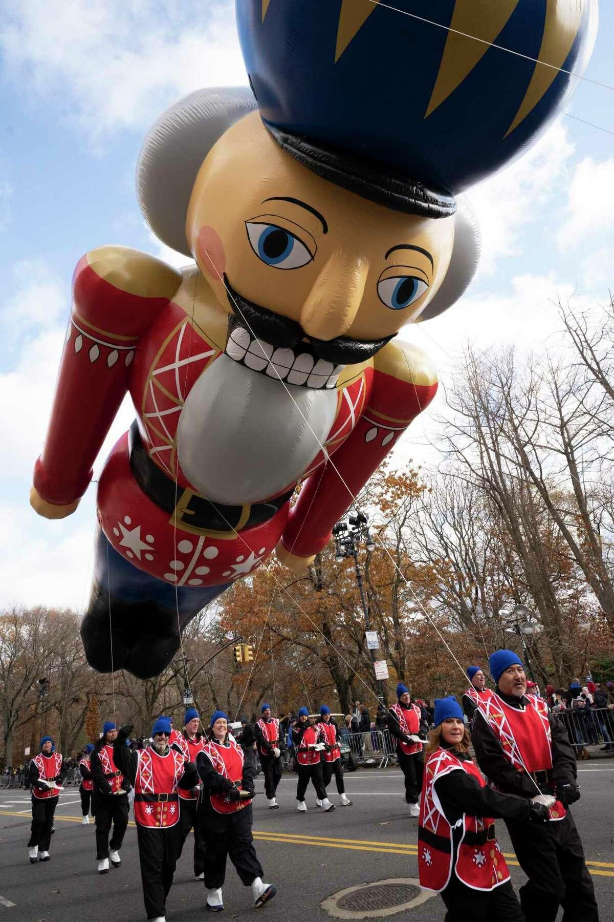 The Nutcracker balloon is in the Macy's Thanksgiving Day Parade, Thursday, Nov. 28, 2019, in New York. (AP Photo/Mark Lennihan)