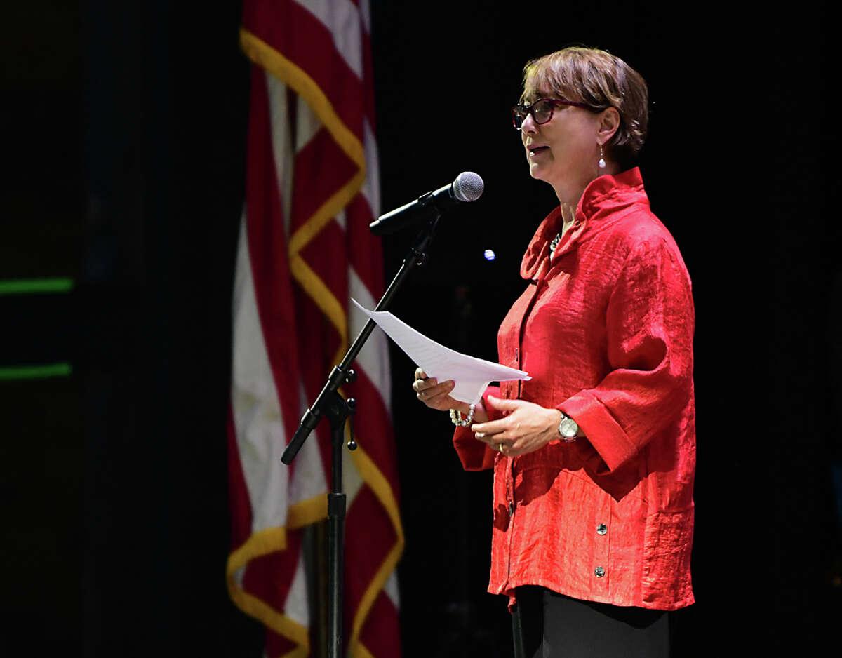 Elizabeth Sobol, President & CEO Saratoga Performing Arts Center, introduces the Philadelphia Orchestra on opening night at Saratoga Performing Arts Center on Wednesday, July 31, 2019 in Troy, N.Y. (Lori Van Buren/Times Union)