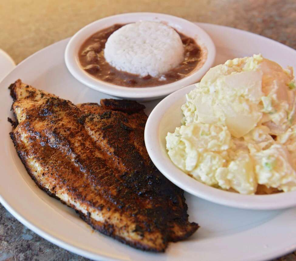 Chris's Southern Connection in Albany - Owner Chris Mayfield is determined to provide some good old-fashioned Southern comfort, with the occasional twist. Here's the blackened catfish, potato salad and red beans. Noise level: 2