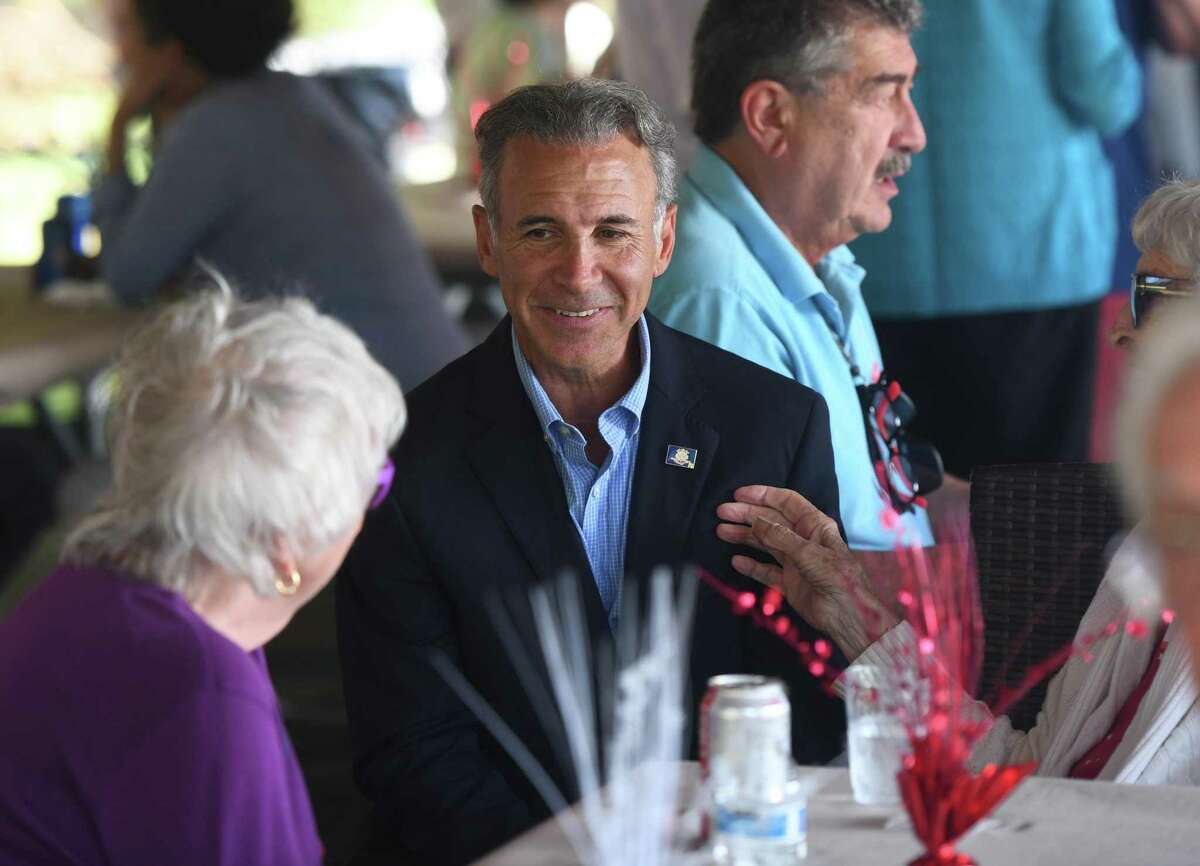 First Selectman candidate Fred Camillo attends the Greenwich Republican Town Committee annual clambake at Greenwich Point Park's Clambake Area in Old Greenwich, Conn. Sunday, Sept. 22, 2019. Local GOP elected officials and candidates gathered to drum up support for the party in preparation for the upcoming election on Nov. 5.