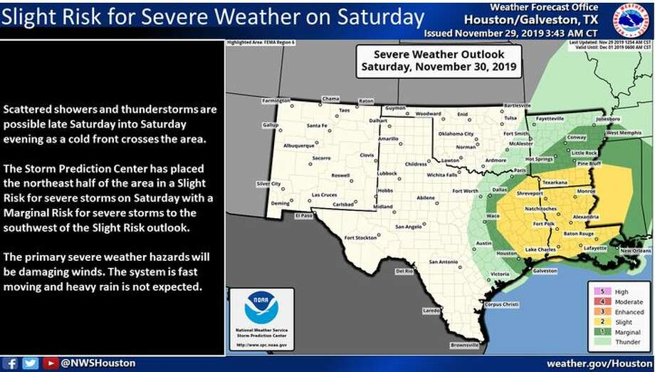 A cold front on Saturday afternoon may bring a chance of severe weather. Photo: National Weather Service