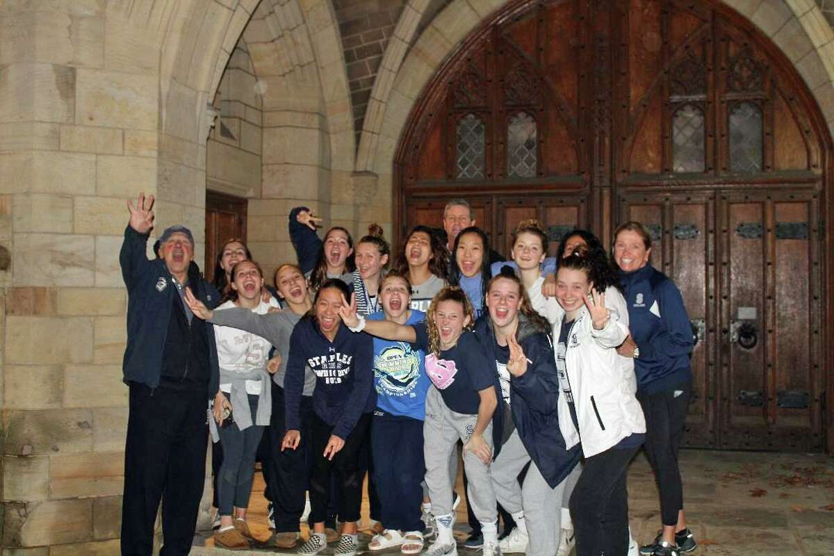 The Staples Girls Swim and Dive team took third place at the CIAC State Open at Yale on Nov. 25, with 326 points behind first-place Cheshire (428 points) and second-place Greenwich (420 points), just 2.5 points ahead of Darien.