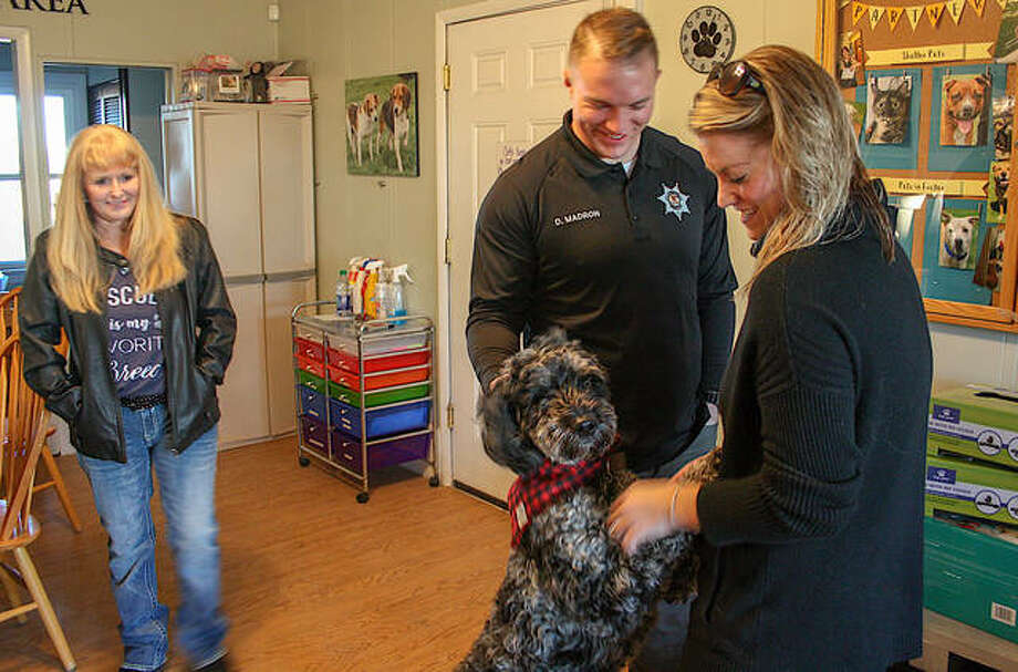 Partners For Pets volunteer Brenda Rutz, left, Collinsville police officer Dylan Madron, center, and wife Alex Madron play with newly adopted doddle, Goose. Photo: Andrew Malo|For The Intelligencer