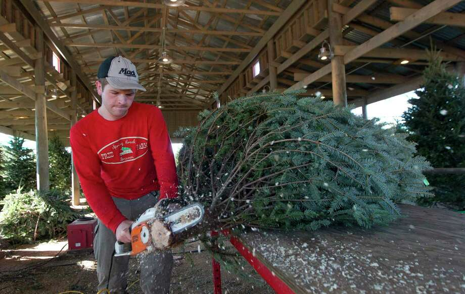 Brendan Mack trims the base of a Christmas tree for customer at Spring Creek Growers in 2017 in Magnolia. Photo: Jason Fochtman, Staff Photographer / Houston Chronicle / © 2017 Houston Chronicle