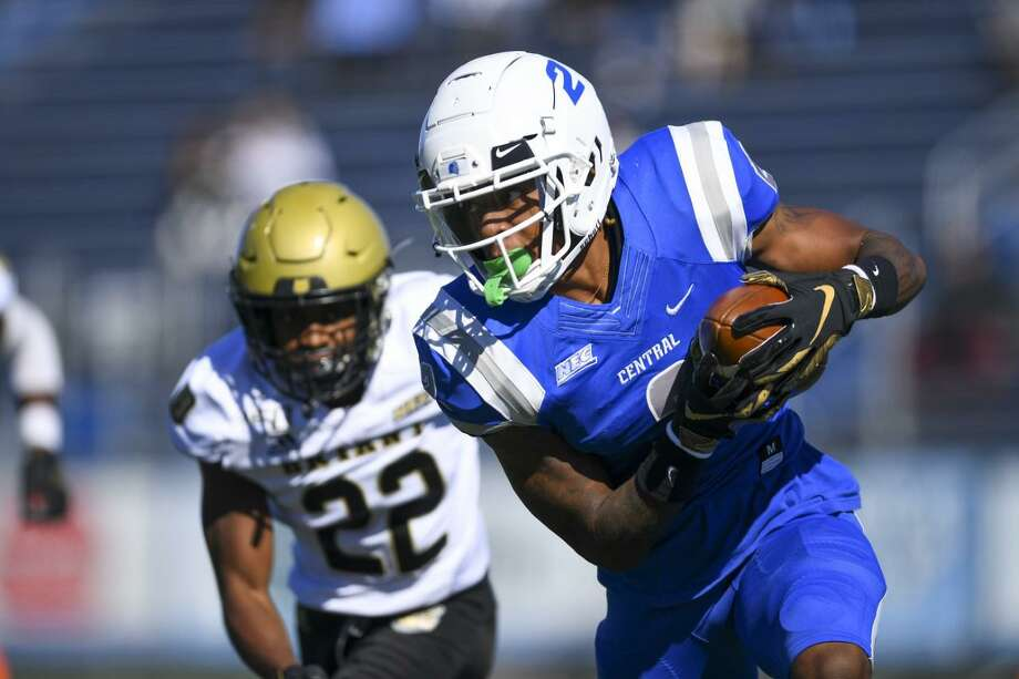 Middletown's Tyshaun James has nine touchdown receptions and five TD runs to lead Central Connecticut State to 11-1 record and spot in the FCS playoffs. Photo: Steve McLaughlin / Contributed Photo Via CCSU