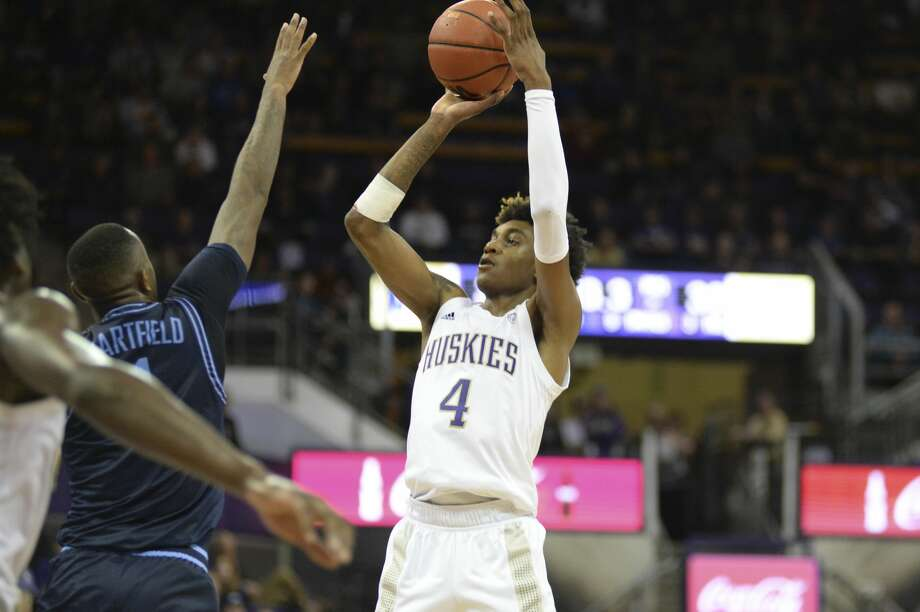 Washington Huskies freshman forward Jaden McDaniels announced late Tuesday night that he is entering the 2020 NBA Draft. Photo: Icon Sportswire/Icon Sportswire Via Getty Images