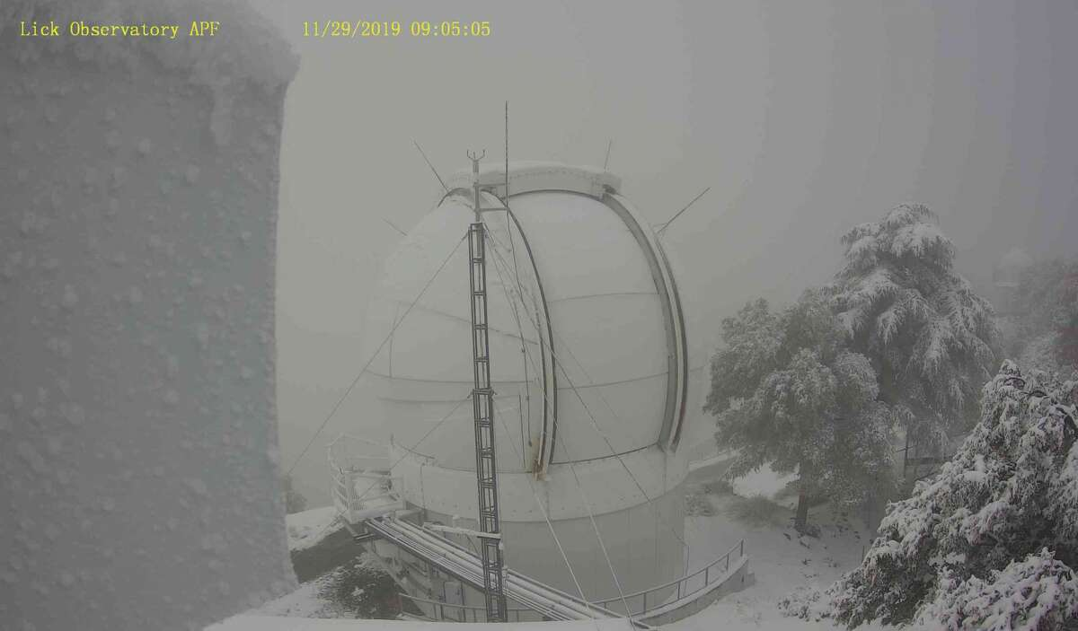 Mount Hamilton in San Jose was covered by a solid layer of snow on Friday morning.