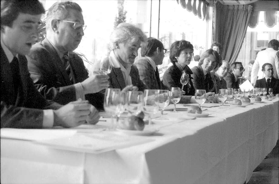 The 1976 tasting that became known as the Judgment of Paris, where French judges rated the Stag's Leap Wine Cellars 1973 Cabernet Sauvignon and the Chateau Montelena 1973 Chardonnay over top French wines. Photo: Photo For The Washington Post By Bella Spurrier / Courtesy