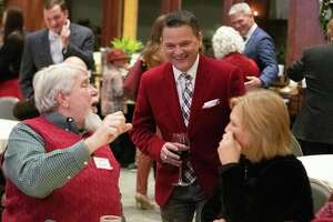 Precinct 3 Montgomery County commissioner James Noack visits with guests during Christmas with the Commissioner Tuesday, Nov. 27, 2018 at The Woodlands Country Club Palmer Course.