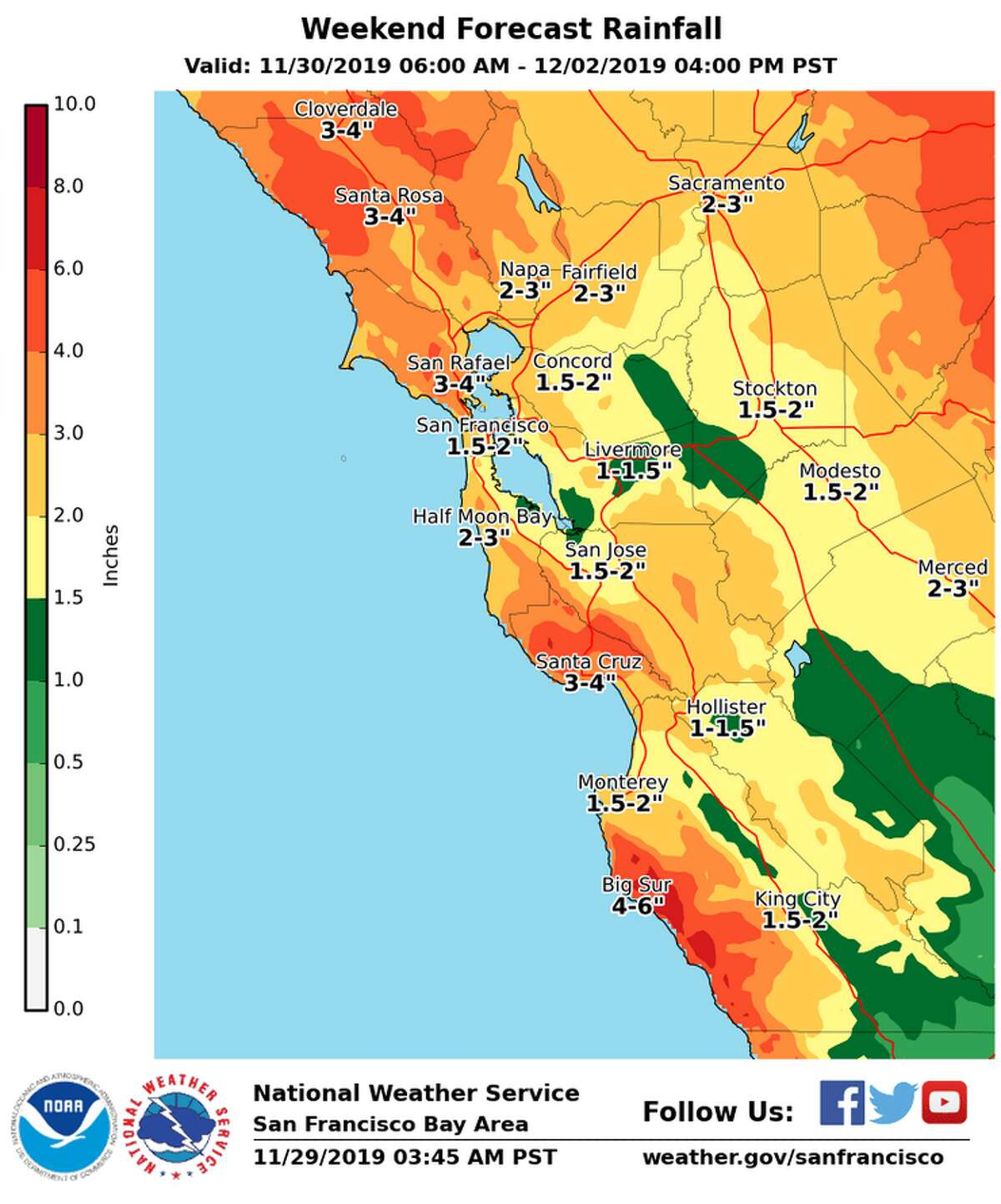 Anywhere between 2-6 inches is expected to fall in the Bay Area by Monday.