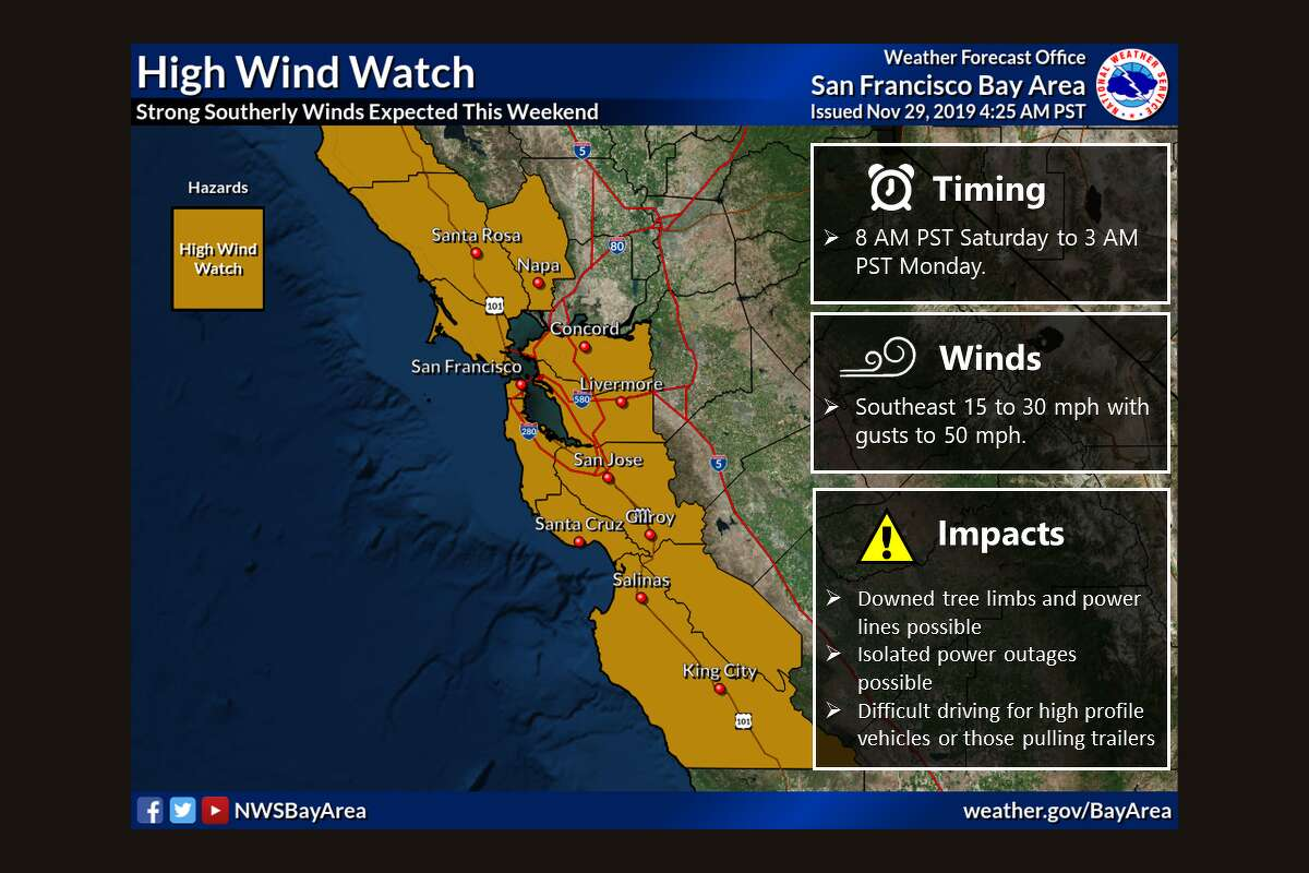 A severe high wind watch is in effect for most of the Bay Area with gusts up to 50 mph through Sunday night.