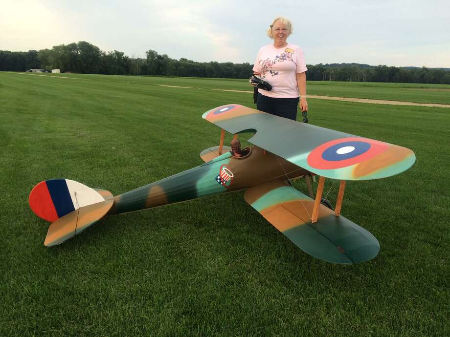 Joan Liska with a Nieuport 27 (WW I French plane flown by American volunteers). Photo: Contributed /