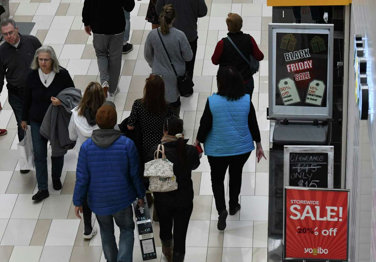 Black Friday shoppers fill the floors at Crossgates Mall on Friday, Nov. 29, 2019, at in Guilderland, N.Y. (Will Waldron/Times Union)