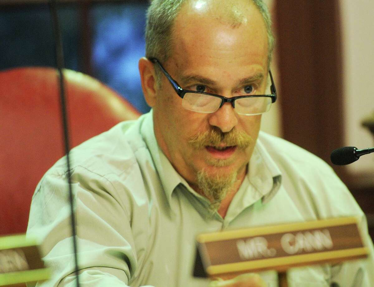 A file photo of Stratford Town Council member Greg Cann addresses the town budget during the group's deliberations at Town Hall in Stratford, Conn. on Monday, June 12, 2017.