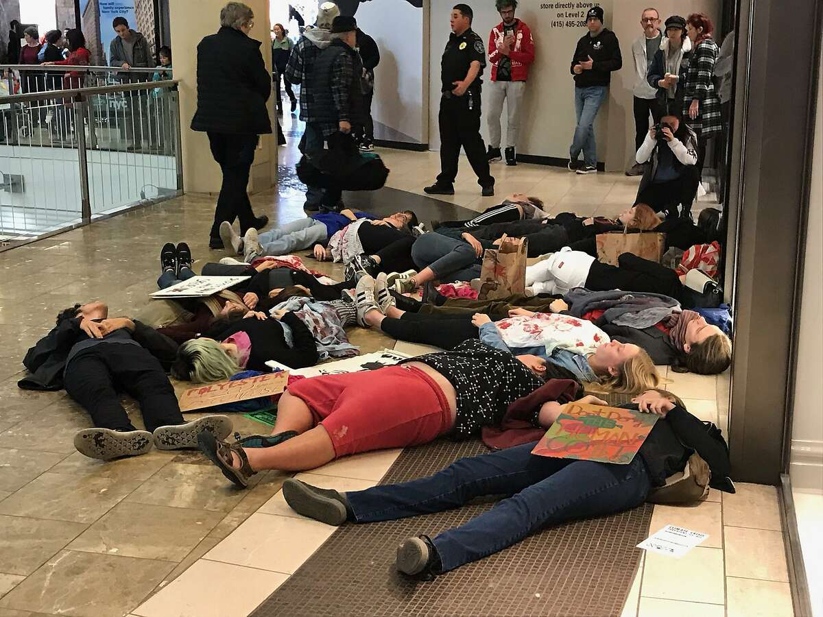 """Climate change activists staged a """"die-in"""" protest inside the Westfield San Francisco Center to protest the fur trade and disposable """"fast fashion"""" trends they said promote global warming. The brief protest occurred during """"Black Friday"""" on Friday, November 29, 2019."""