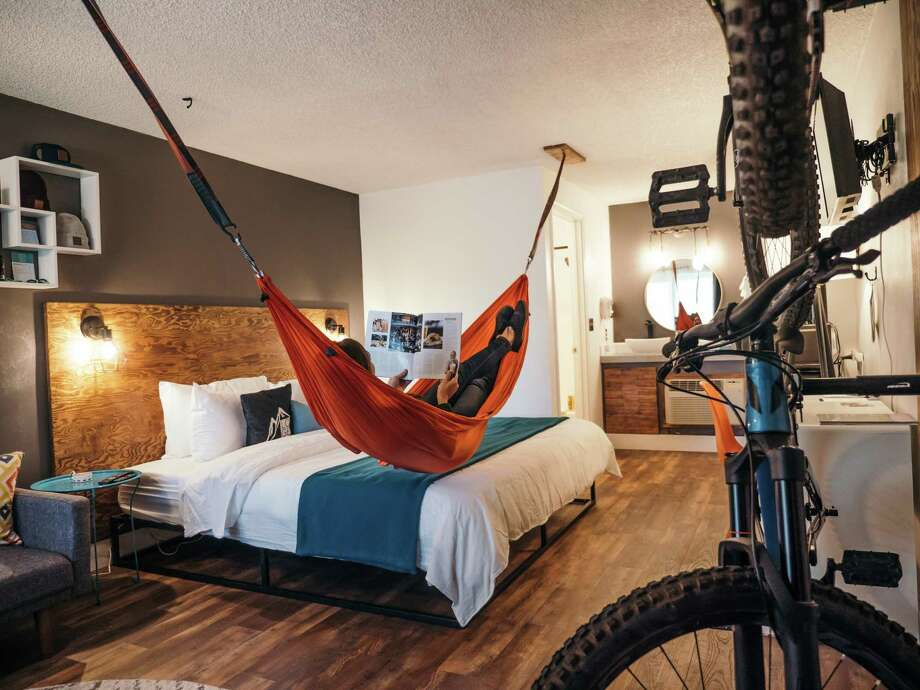 A room with a hammock at LOGE Bend in Oregon. Photo: Handout Courtesy Of Loge Camps / Handout