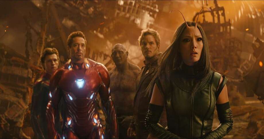 Spider-Man/Peter Parker (Tom Holland), Iron Man/Tony Stark (Robert Downey Jr.), Drax (Dave Bautista), Star-Lord/Peter Quill (Chris Pratt) and Mantis (Pom Klementieff) in Avengers: Infinity War. Photo: Marvel Studios