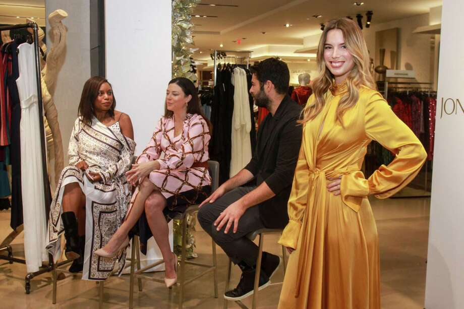 """Amber Elliott, from left, April Hennig and Jonathan Simkhai during the fashion show at the """"It Girls"""" luncheon at Saks Fifth Avenue on November 22, 2019. Photo: Gary Fountain, Houston Chronicle / Contributor / Copyright 2019 Gary Fountain"""