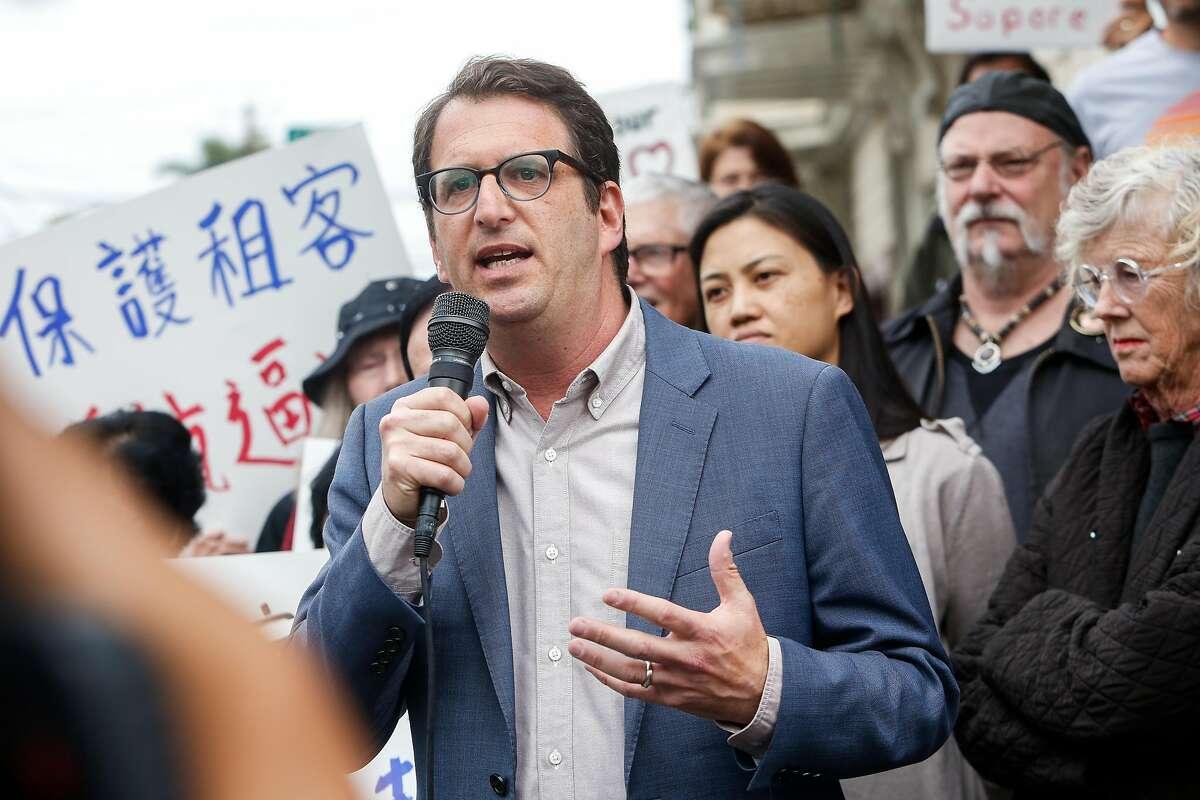 Supervisor elect, Dean Preston, joins Aaron Peskin and Senator Scott Wiener speaking at a demonstration in support of saving Caffe Sapore in San Francisco, Calif. on Thursday, Nov. 14, 2019.