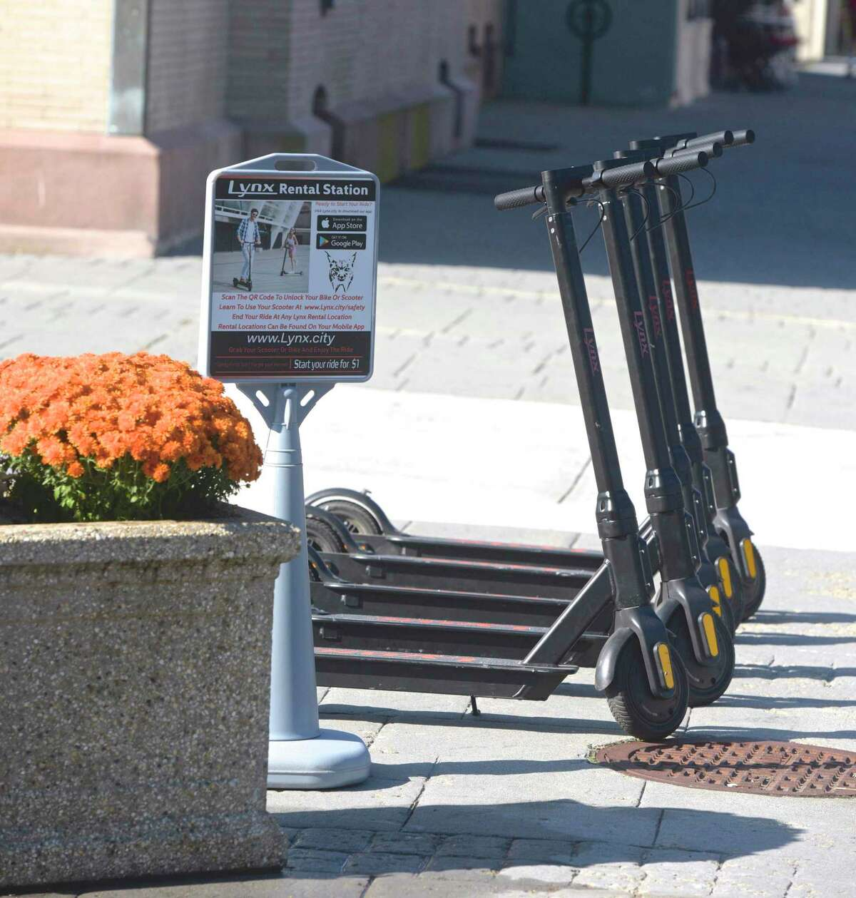 Scooters available for rent on the corner of Main & Bank Street. Scooters can be rented through an Apple or Google app. Saturday, September 28, 2019, in New Milford, Conn.