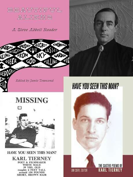 Clockwise from top left: A new book of Steve Abbott's writing, Steve Abbott, a new book of Karl Tierney's poetry, the flyer that was posted when Tierney went missing. Photo: Courtesy Jim Cory