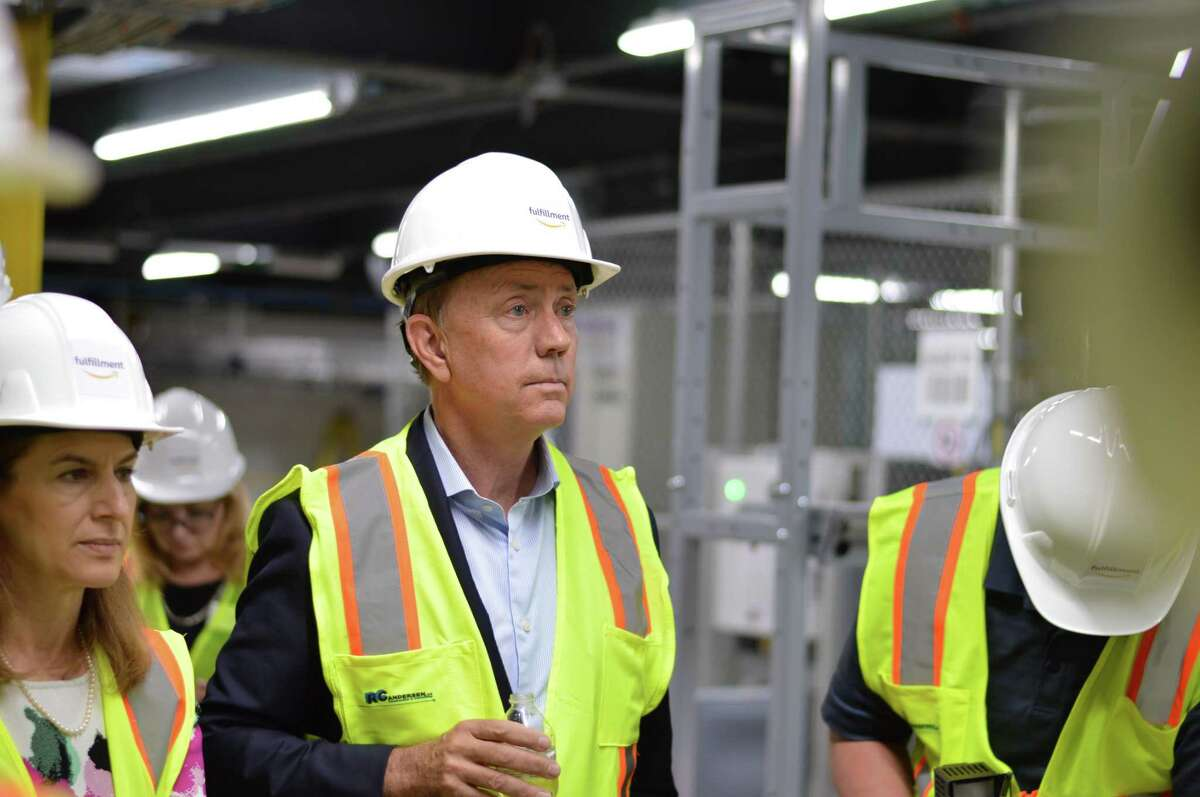 State and local officials including Gov. Ned Lamont, Lt. Gov. SusanBysiewicz,North Haven First Selectman Michael Freda, Senator Len Fasano, and Senator Martin Looney toured Amazon's North Haven fulfillment center for the first time Thursday June 20, 2019