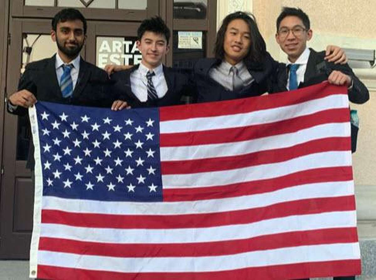 Jack Lee, a Seven Lakes High School sophomore, represented the United States on a four-student team that competed in the International Astronomy Olympiad in Romania. From left are Sri Devulapalli, Jonah Quist, Lee and Nathan Yan.