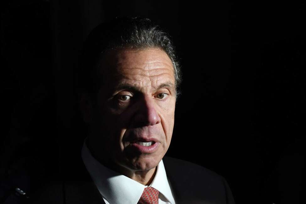 Gov. Andrew Cuomo speaks to the media following an announcement on Tuesday, Nov. 5, 2019, at Proctors Theatre in Schenectady, N.Y. (Will Waldron/Times Union)