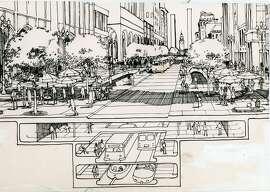 Artist plans for  subway under  Market Street   Graphic ran  08/17/1964, p. 15