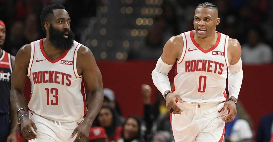 PHOTOS: Rockets game-by-game Houston Rockets guard Russell Westbrook (0) reacts next to guard James Harden (13) during the second half of an NBA basketball game against the Washington Wizards, Wednesday, Oct. 30, 2019, in Washington. The Rockets won 159-158. (AP Photo/Nick Wass) Browse through the photos to see how the Rockets have fared in each game this season. Photo: Nick Wass/Associated Press