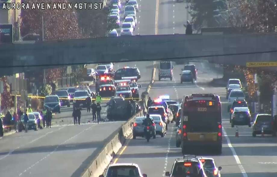 Traffic on Aurora Avenue North being rerouted after a crash on Nov. 29, 2019. Photo: Seattle Department Of Transportation