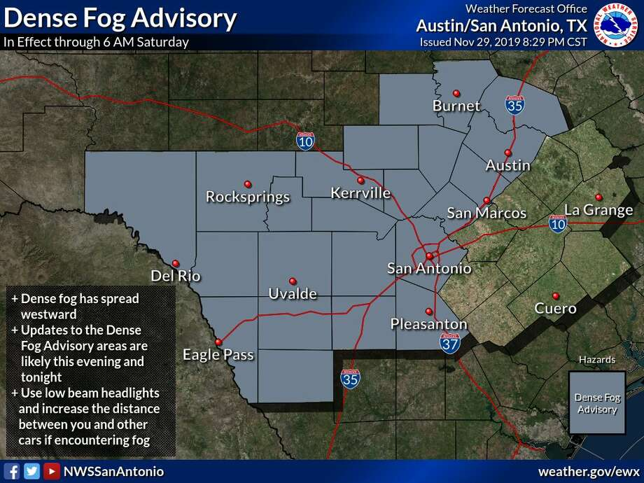 Fog is expected to limit visibility in the area through Saturday morning. Photo: National Weather Service, National Weather Service