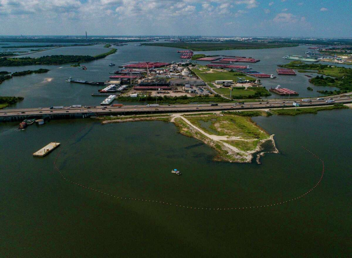 The San Jacinto Waste Pits superfund site on the San Jacinto River in Channelview, Monday, Sept. 9, 2019.