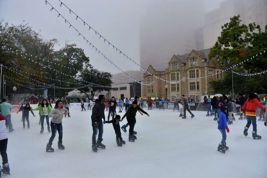 More than 10,000 people have skated on theoutdoor Rotary Ice Rink at Travis Park as of Tuesday evening. Photo: Robin Jerstad /Contributor / **MANDATORY CREDIT FOR PHOTOG ANDSAN ANTONIO EXPRESS-NEWS/NO SALES/MAGS OUT?TV