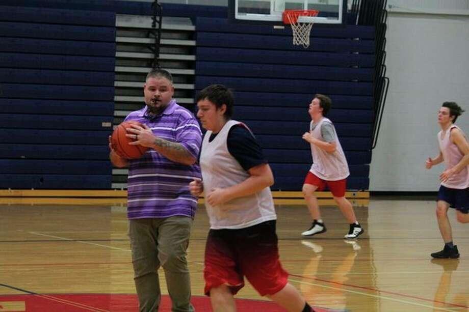 Crossroads boys basketball coach Rusty Fullerton supervises a practice earlier this week. (Pioneer photo/John Raffel)