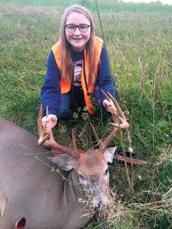 Local hunter 13-year-old Mackinzie Hanson shot this 10-point buck from 75 yards away, with a .223 rifle. (Courtesy photo)