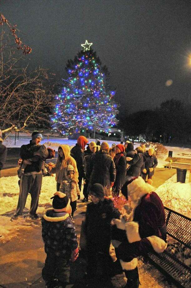 Participants at a Spectrum Health Big Rapids Hospital tree-lighting event are pictured. The hospital announced this year's annual event is set for Monday. (Courtesy photo)