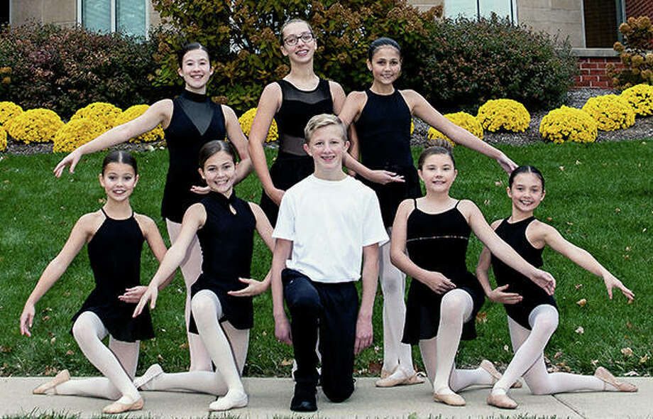 """Jacksonville-area dancers taking part in the Springfield Ballet Company's annual production of """"The Nutcracker"""" include Emma Wolters (standing, from left), Norah Wilson and Gianna Williams and Lillie Brown (kneeling, from left), Lily Hickox, Kaden Shillings, Jaylee Crafton and Jaycee Bates. Photo: Photo Provided"""